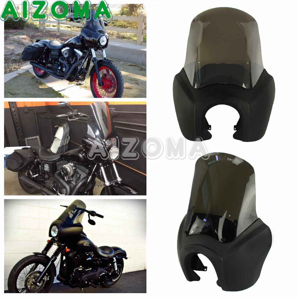 Masque de phare de moto avec pare-brise de fumée rétro mat noir Kit de matériel de carénage avant pour Harley Dyna FXDXT HD 1987-2017
