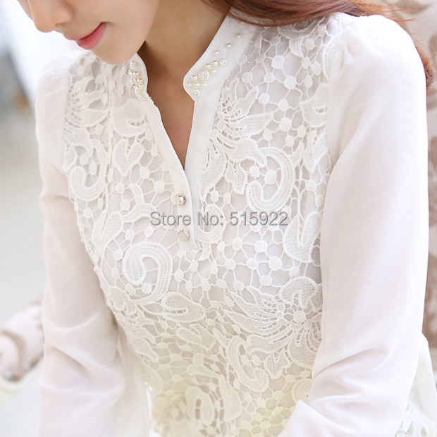 ¡Novedad de 2018! Blusa de encaje para mujer, blusa de chifón blanca con cuentas de manga larga, blusa holgada de talla grande 60B6