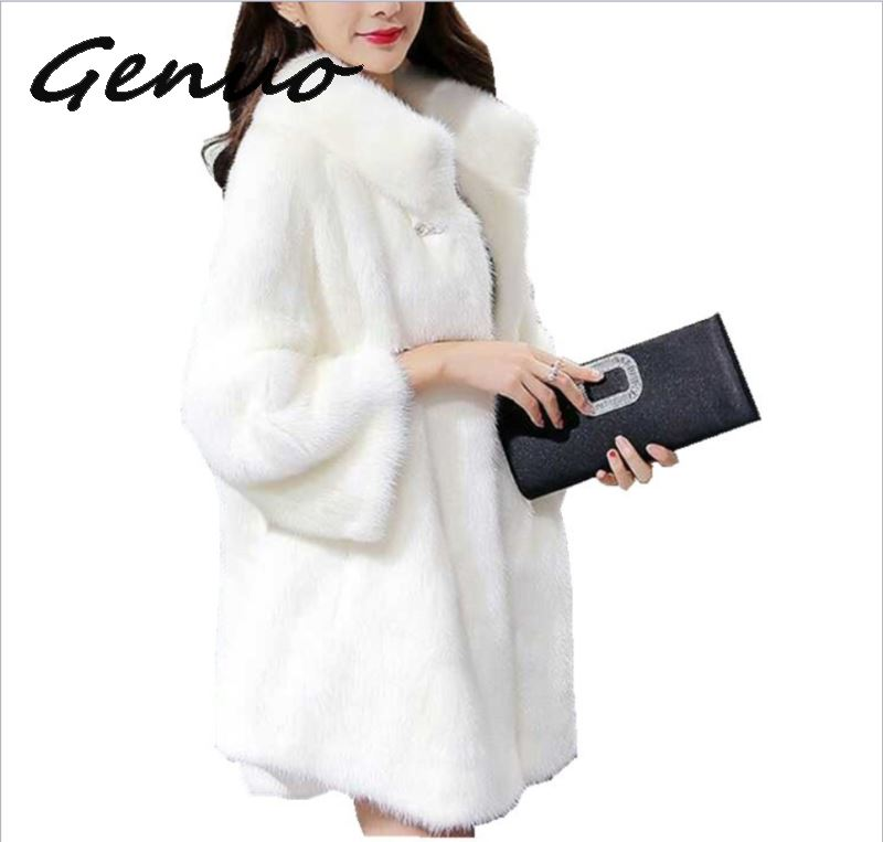 2019 autumn&winter fashion faux fur new European and American collar coat female long section mink large size