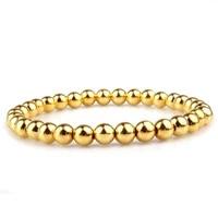 gvusmil gold 6mm handmade beaded stretch charm bracelets for man elastic stretch bracelet gift party jewelry