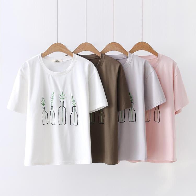 Camiseta bordada con botella a la deriva de verano 2018 para mujer, fácil de combinar Camiseta de algodón con cuello redondo Harajuku, camisetas coreanas femeninas ZR267