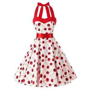 Women vintage dress sweet cheery fruit print halter big swing rockabilly dress