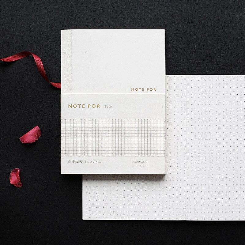 Cuaderno de cuadrícula de puntos Bujo básico oro blanco diario planificador de viaje