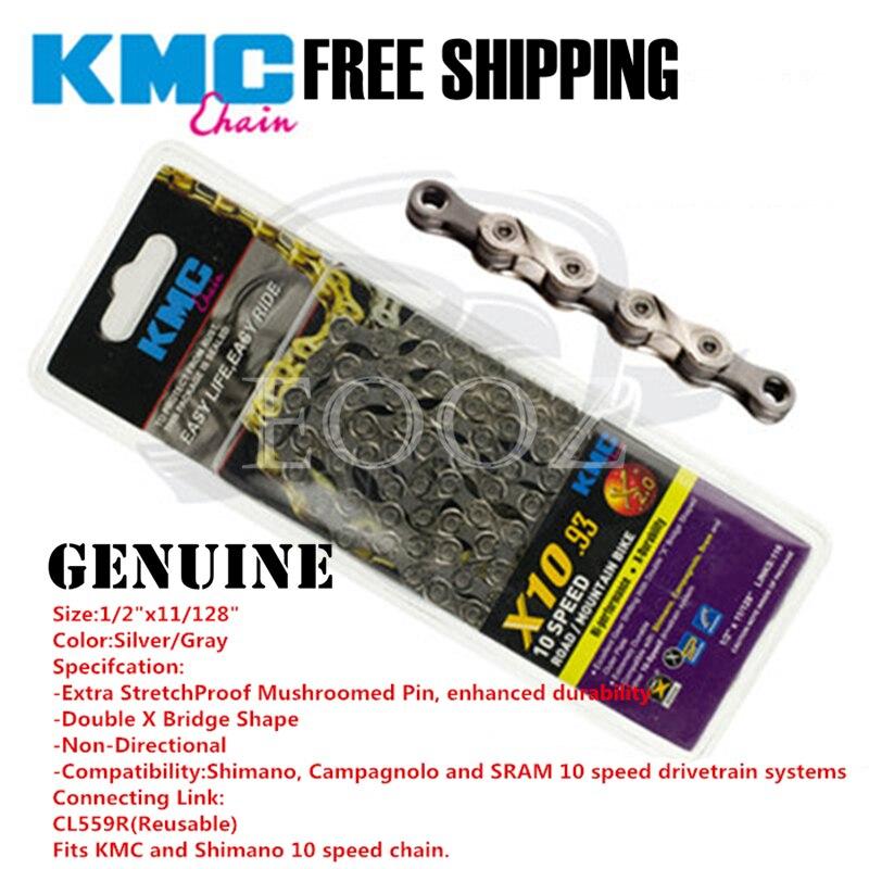 Genuino KMC MTB Cadena de bicicleta de carretera serie X10 10 eslabones de velocidad 116 para Shimano Campagnolo y SRAM envío gratis