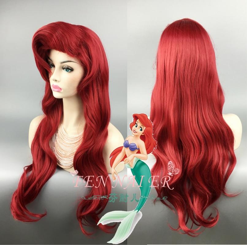 Biamoxer Русалочка красный парик волнистый парик для косплея Принцесса Ариэль парик для ролевых игр костюм
