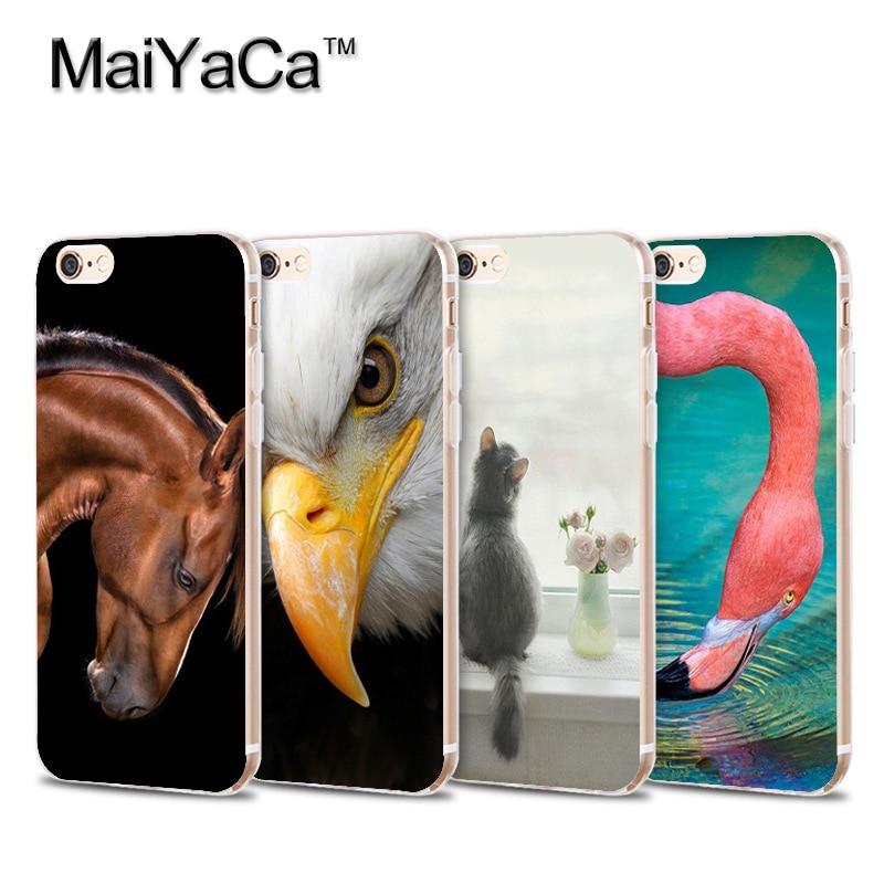 Funda de teléfono MaiYaCa caballo pájaro flamenco gato cigarra águila Cisne animales suave para iPhone 4S 5S 6s 7 8plus x xs max xr 11pro