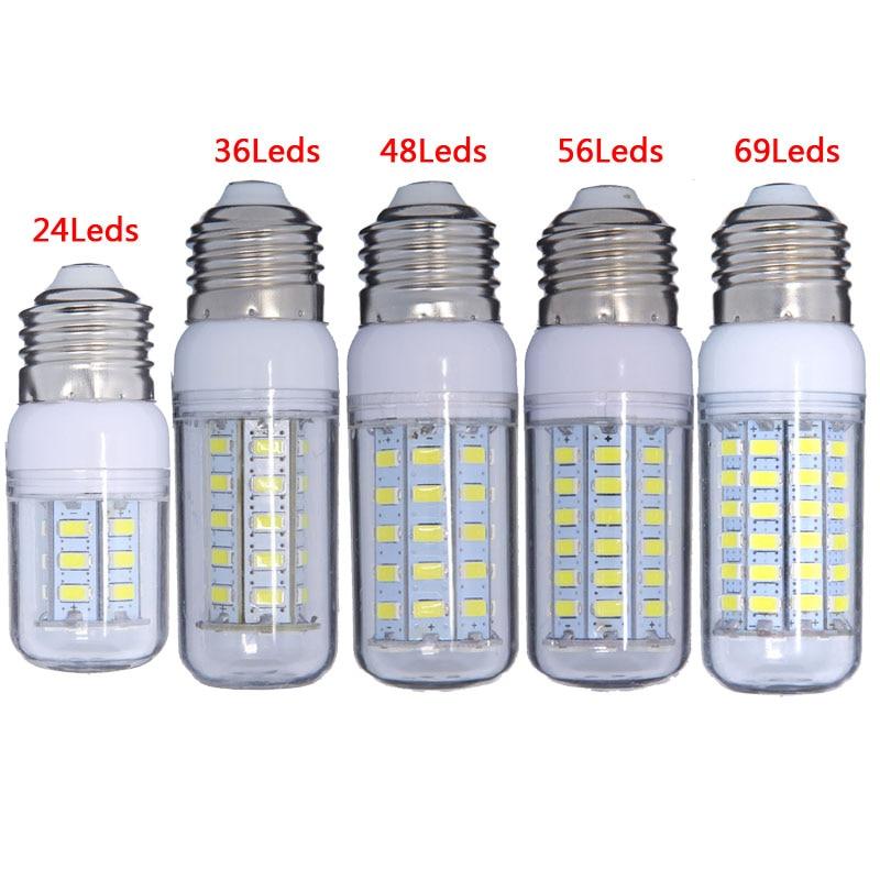 عالية الطاقة 220 فولت 240 فولت LED مصباح لمبة ذرة أضواء SMD 5730 lampada led E27 E14 lamparas 7 واط 12 واط 15 واط 20 واط 25 واط الأبيض/الدافئة الأبيض