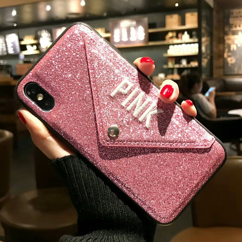 Funda de cuero de lujo Rosa bordado con brillo para iphone 7 8 Plus 6 6s Plus X XS MAX XR para iphone 11 pro max carcasas