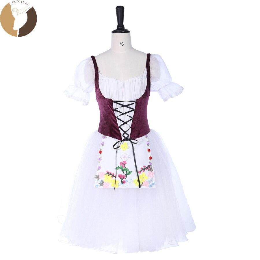 FLTOTURE Giselle largo romántico falda Borgoña blanco Ballet competición YAGP niñas vestidos de manga corta Cenicienta disfraces tutú