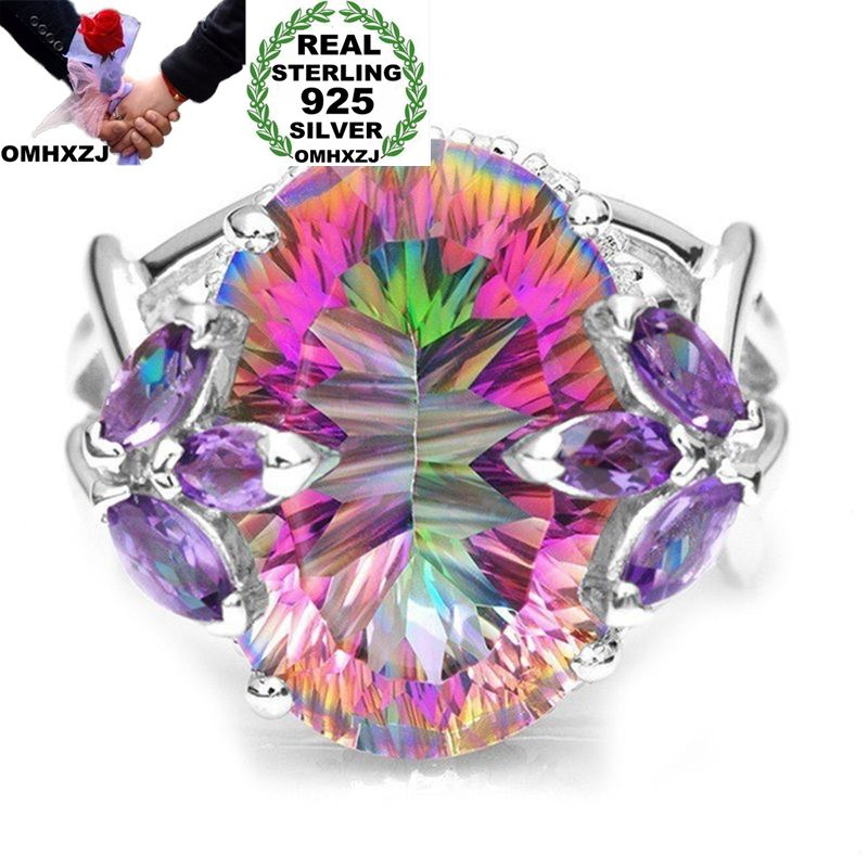 OMHXZJ, venta al por mayor, moda europea, regalo de boda para hombre y mujer, anillo de Plata de Ley 925 con circonita AAA de colores ovalados, RR110