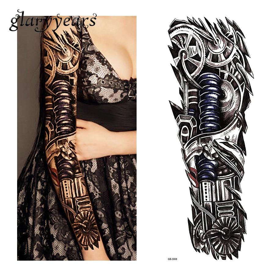 1 pieza del tatuaje etiqueta engomada del tatuaje máquina Robot de patrón temporal flor llena de Body art para brazos mujeres hombres falso tatuaje adhesivo QB-3008
