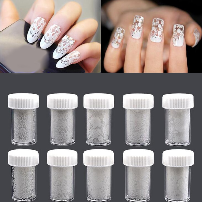 1pcs Sticker Nail Art Transfer Foil Sticker White Design Lace Rose Flower Floral Tips Decoration Polish Manicure Tools Decal Set