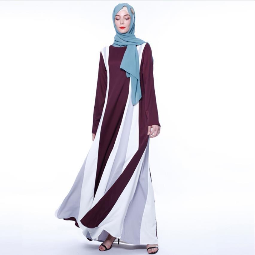أنيقة مسلم مخطط ضرب اللون العبايات الإناث كامل طول كيمونو الجلباب العربية رمضان الصلوات الإسلامية رداء wq2500
