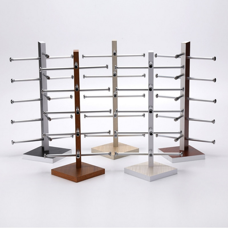 Mordoa 5 colors Wood Display Stand For Sunglass 3D Glass 5 vice Glasses Display Stand Holder Rack/Sh