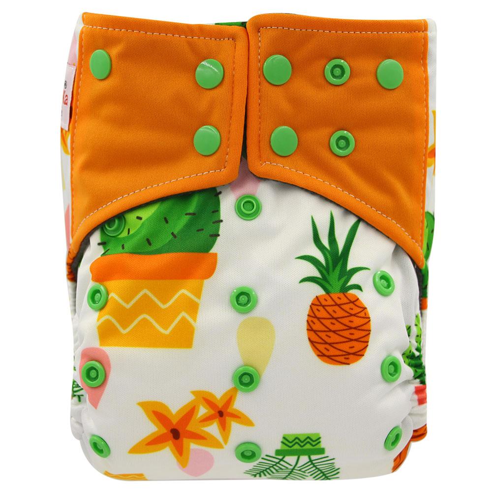 Ohbabyka fraldas do bebê ai2 bolso pano fralda abacaxi impressão lavável bebê pano fralda carvão de bambu reutilizável fraldas do bebê