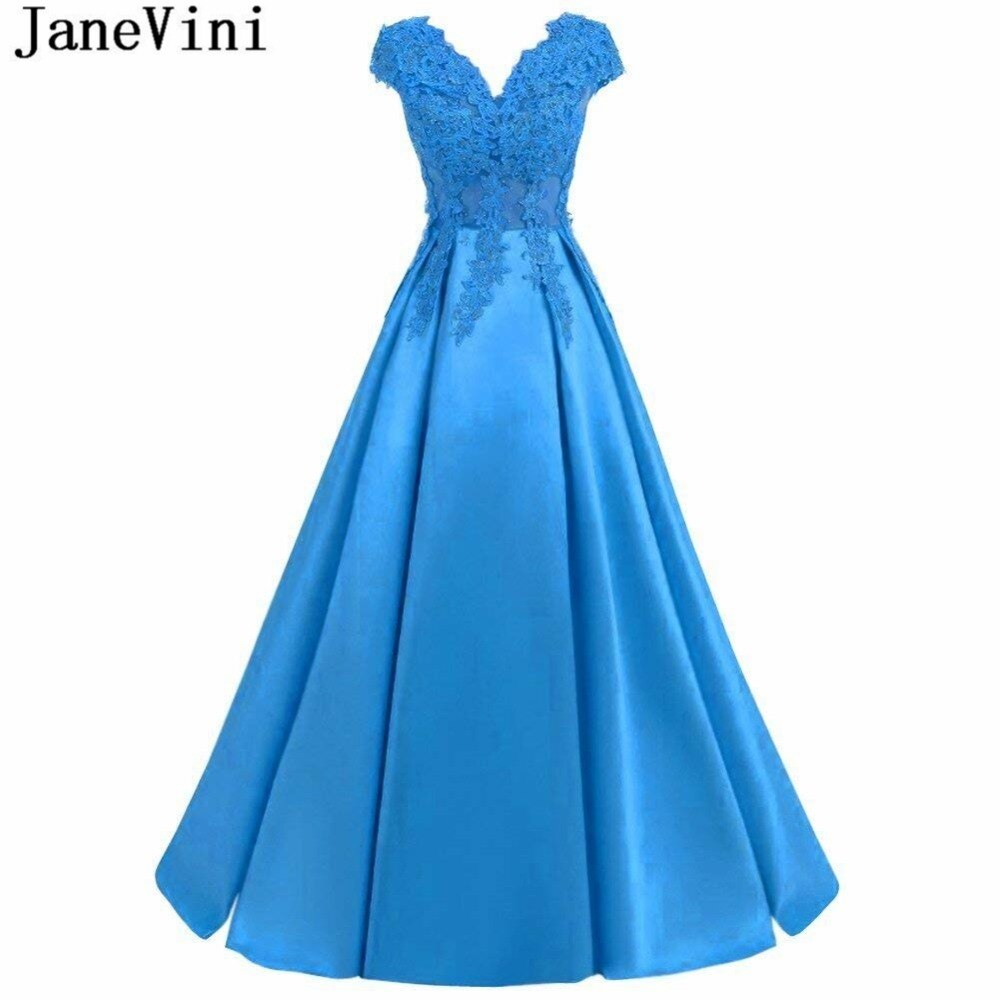 beauty emily a line lace red bridesmaid dresses 2019 long for women wedding party prom women dresses JaneVini Long Blue Bridesmaid Dresses for Women A-Line Lace Appliques Beaded Satin V Neck Backless Floor Length Prom Party Gowns
