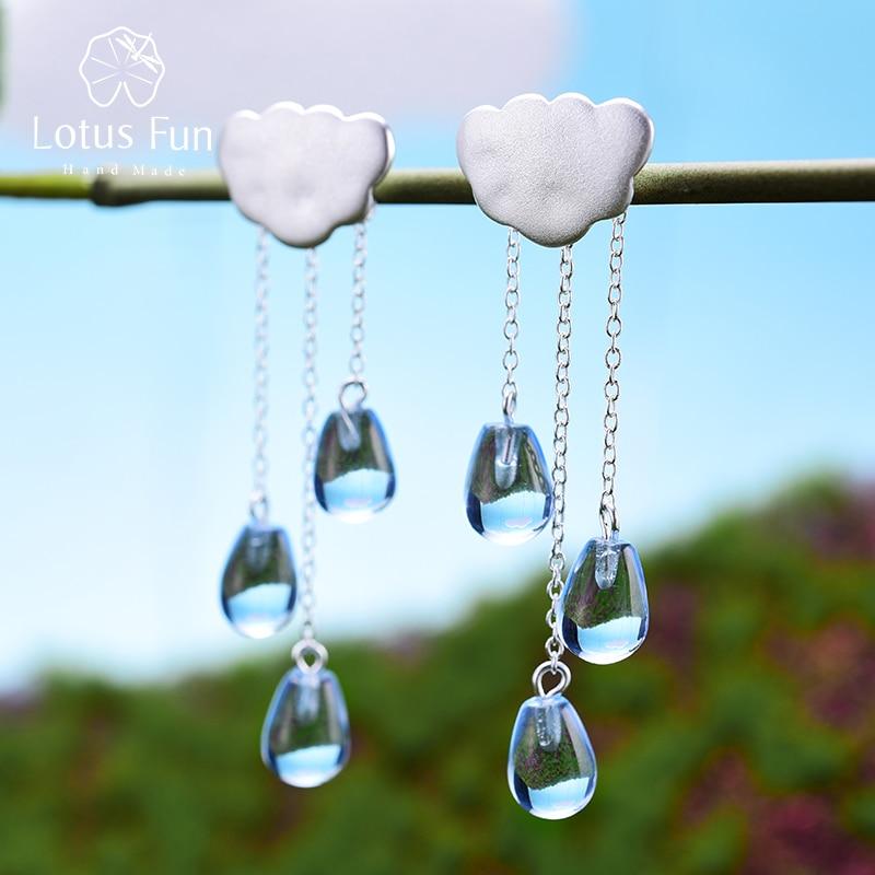 مجوهرات فاخرة مصنوعة من الفضة الإسترليني 925 ومرصعة بالكريستال والأحجار الكريمة على شكل سحابة عرقية أقراط طويلة بشراشيب للنساء