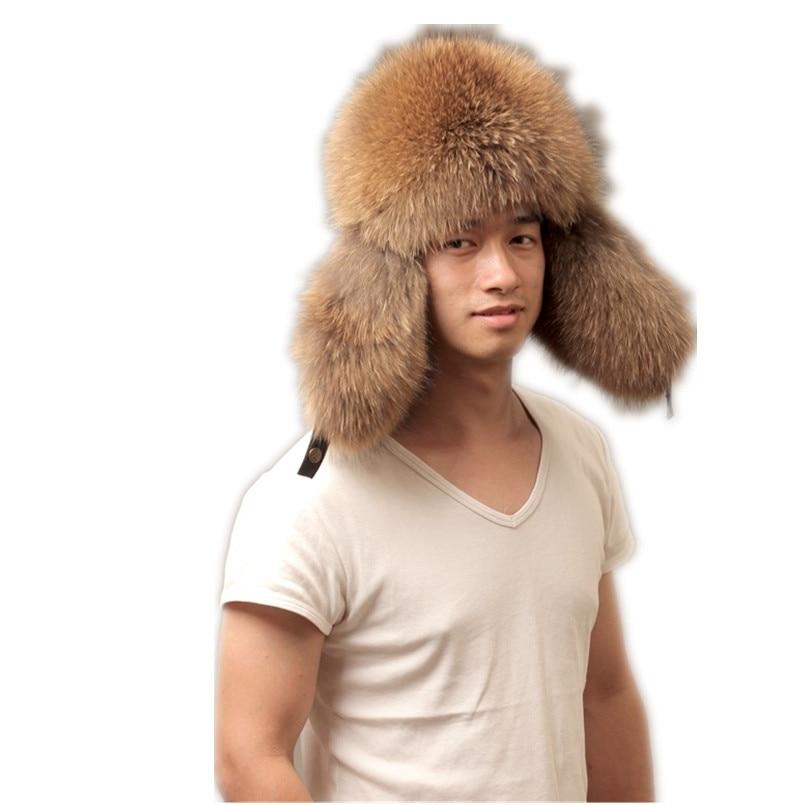 Sombreros de bombardero de piel de zorro natural y piel de mapache con orejeras gorras de piel de zorro negra plateada natural leifeng para hombre M101