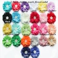 30 pcs lot   girls hair accessories 2 5 pearl chiffon flowers   headbands shabby chiffon flowers