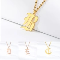 2019 mens necklace old english letter necklace golden stainless steel single letter pendant charm mens jewelry gifts to best f
