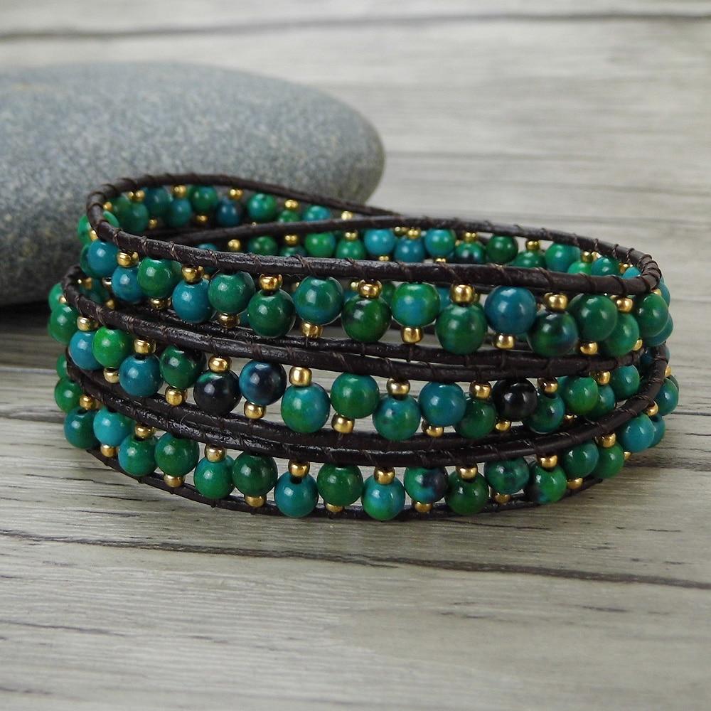 Cuentas verdes 3 pulsera de envoltura de cuero bacelet pila de cuentas pulsera Yoga cuenta De cuero bohemio