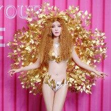 Nightclub Female Leading Dancer Costumes Bar DJ Singer Performance Outfits Model Show Catwalk Sexy Gold Wing Bikini Stage Wears