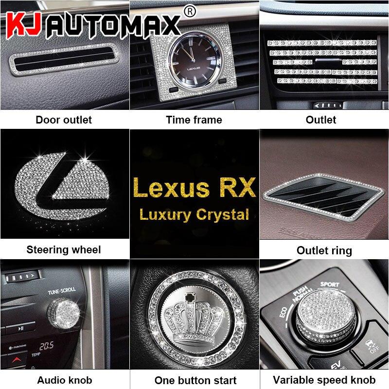 KJAUTOMAX Voor LEXUS RX200 450 H 270 Crystal Decoratie Motor Start Knop Decoratie Logo Instrument Outle Sticker Klok