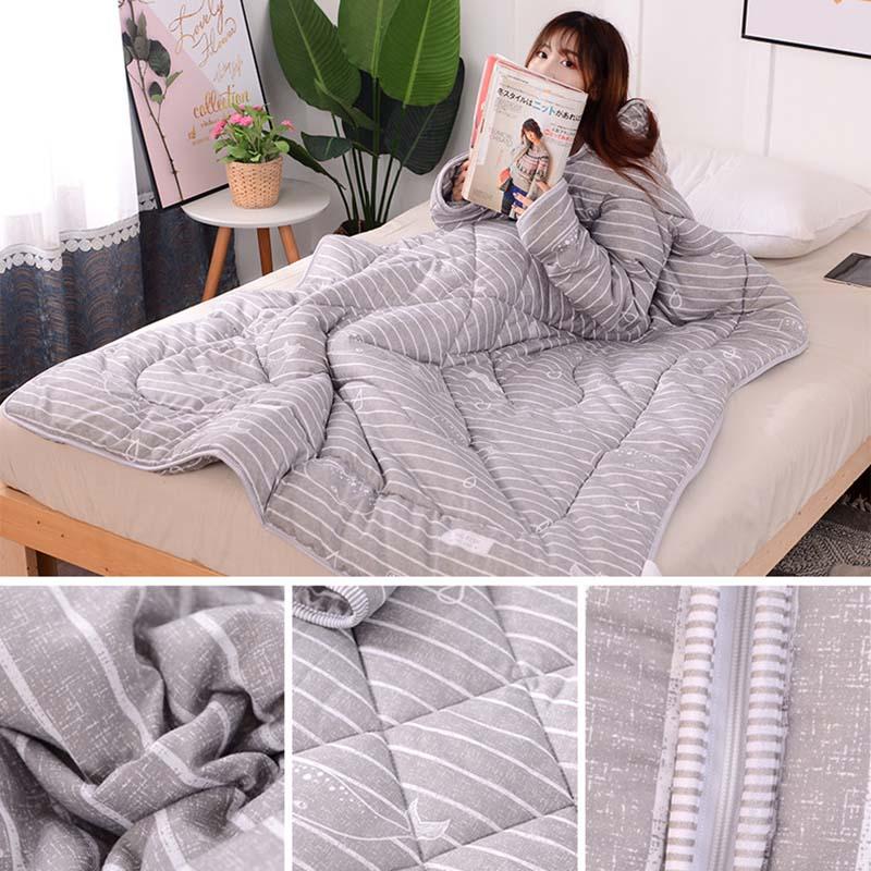 Multifunción colcha para perezosos con mangas invierno cálido engrosada edredón de lavado manta HTQ99