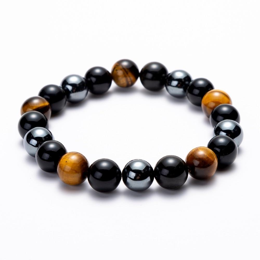 Hematite Black Obsidian Tiger Eye Stones Strand Beaded Stretch Bracelets Powerful Energy Men Women Jewelry 6mm 8mm 10mm options