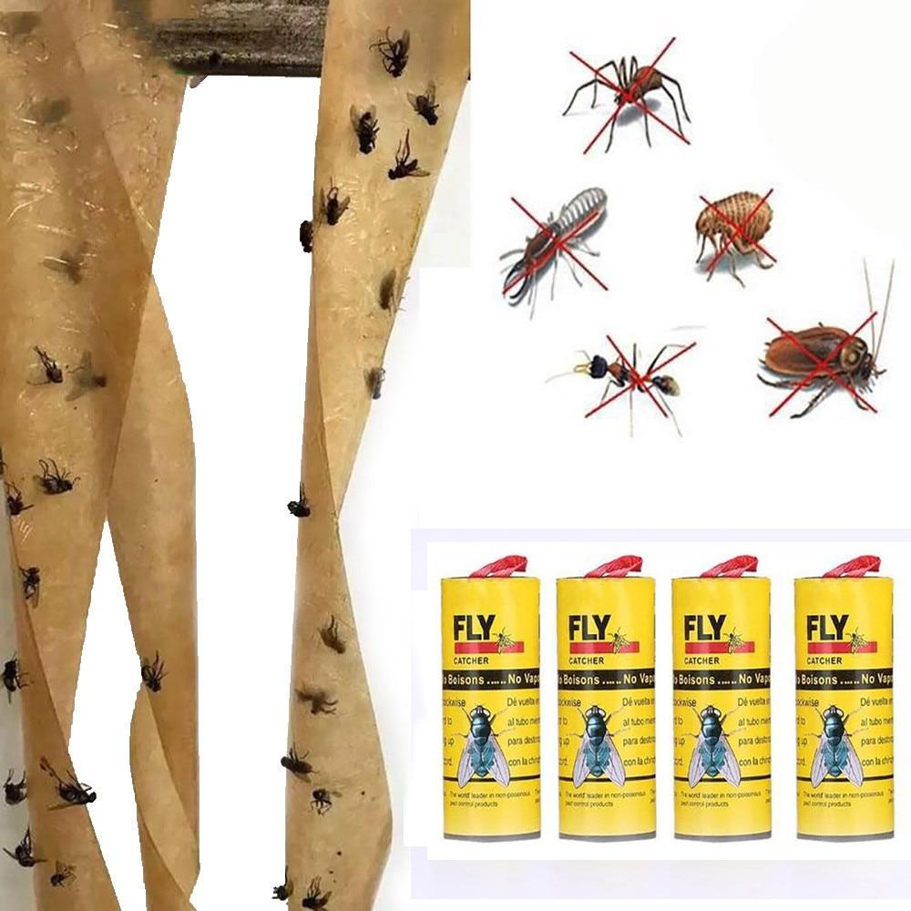 4 rollos de papel atrapamoscas eliminar moscas insectos insecto casa pegamento trampa de papel trampa mosca Mosquito mata zumbido dispositivo de captura