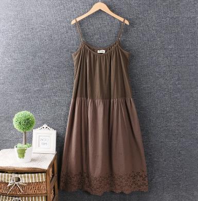 Estilo de niña Mori Lolita Vintage correa de espagueti de encaje vestido básico ropa Casual de mujer, vestido de algodón, Vestidos Oncinha Faldas