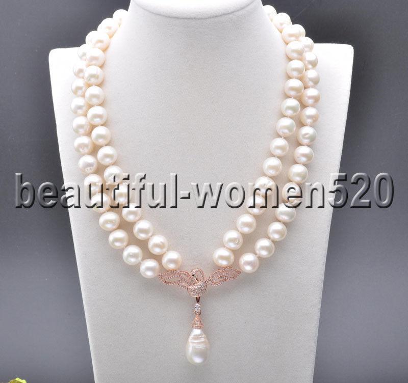 Z7593 2 hebras 12mm blanco redondo perla collar 18 pulgadas