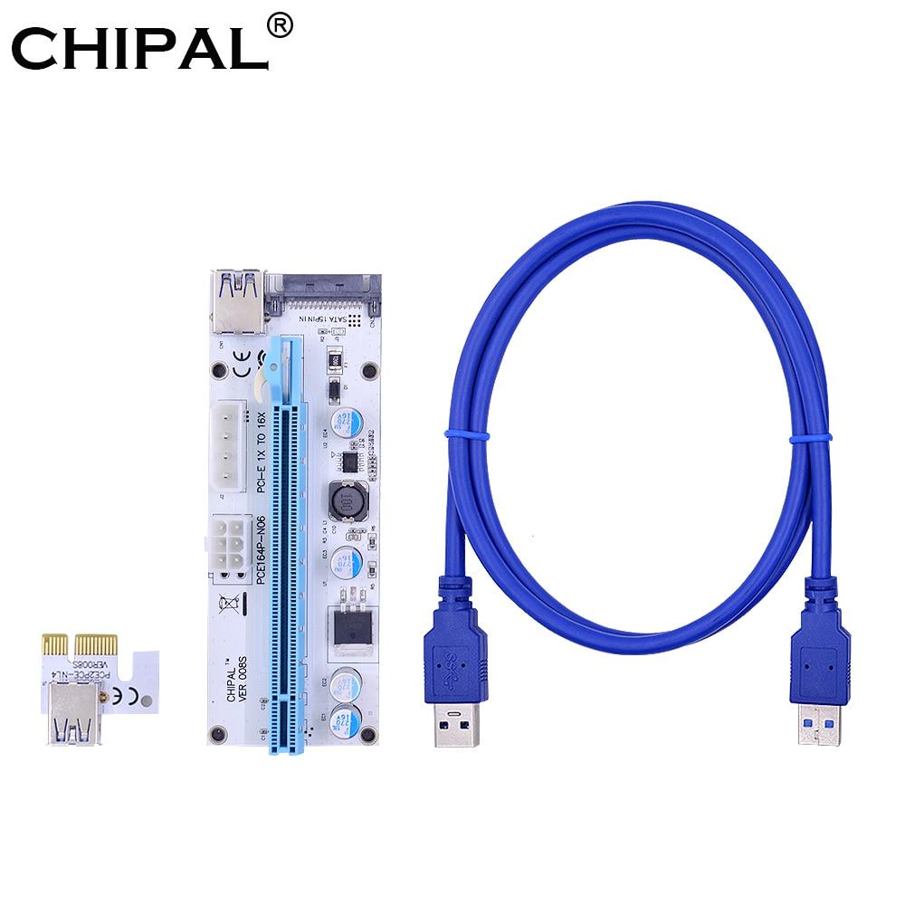 CHIPAL 100CM 60CM VER008S PCI-E 1X à 16X Extender PCIE Riser carte + 4Pin 6Pin SATA Interface dalimentation + LED pour BTC Miner Mining