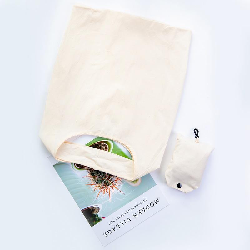 Reusable Cotton ECO Shopping Bag Women Men Travel Shopper Tote Storage Bags Foldable Buttons