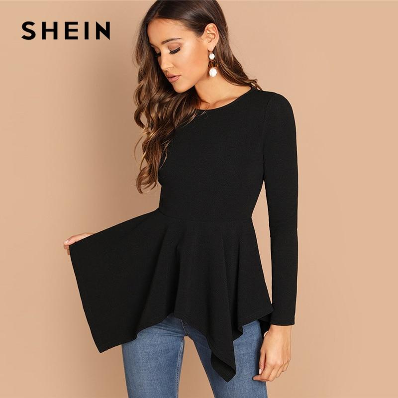 שיין סימטרי Hem Peplum טי אלגנטי רגיל ארוך שרוול עגול צוואר חולצות נשים סתיו מינימליסטי Workwear חולצה
