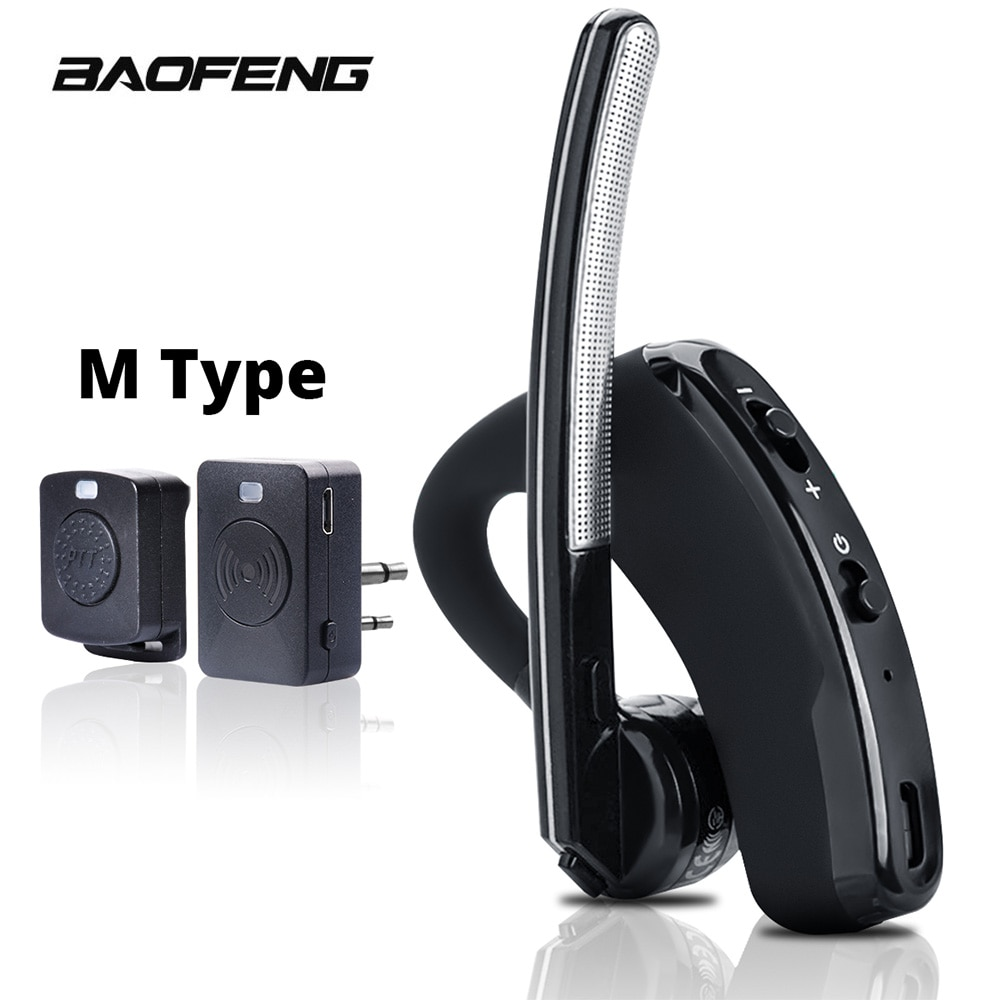 Walkie Talkie Wireless Headset PTT Bluetooth Earphone with Mic M Plug Wireless headphone Handsfree for Moto Ham Station
