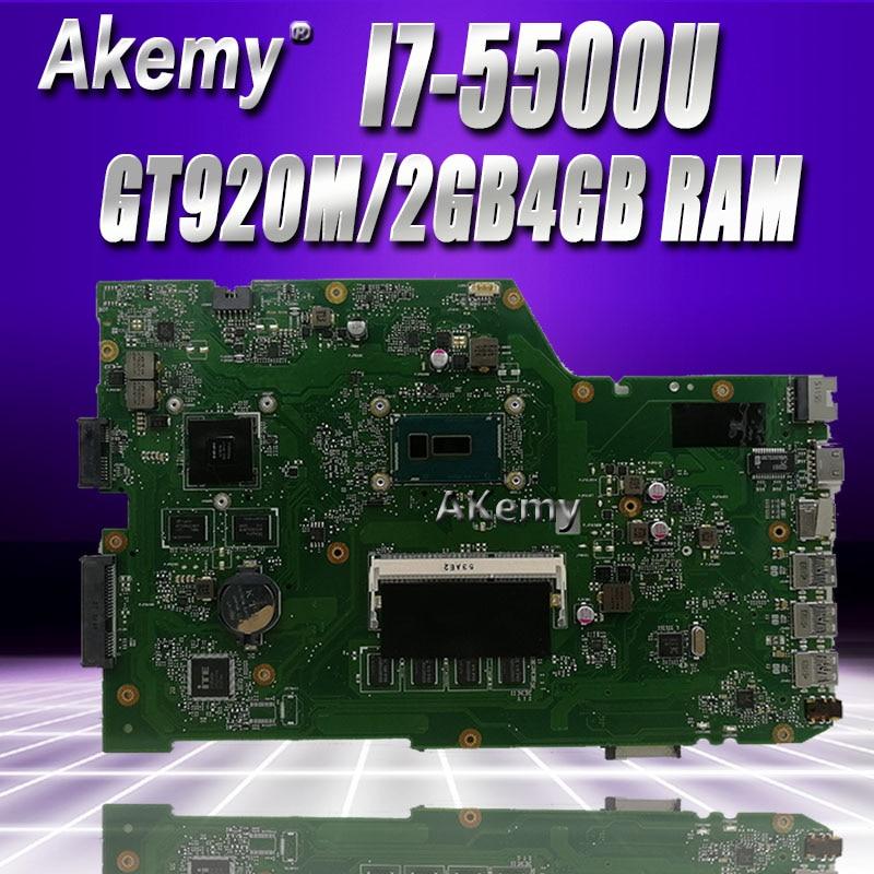 Akemy X751LJ GT920M/2GB placa madre para For Asus X751L R752L K751L X751LN X751LD X751LJ X751LB placa base de computadora portátil 4GB RAM I7-5500U