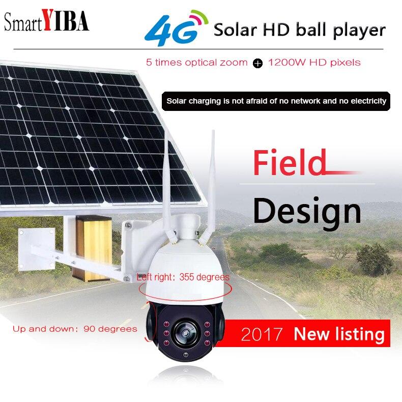 SmartYIBA 1080P كاميرا لاسلكية تعمل بالطاقة الشمسية 4G واي فاي وظيفة 2MP كاميرا IP الشمسية 5X زووم بصري 128G SD مقاوم للماء مجموعة الدوائر التلفزيونية المغ...