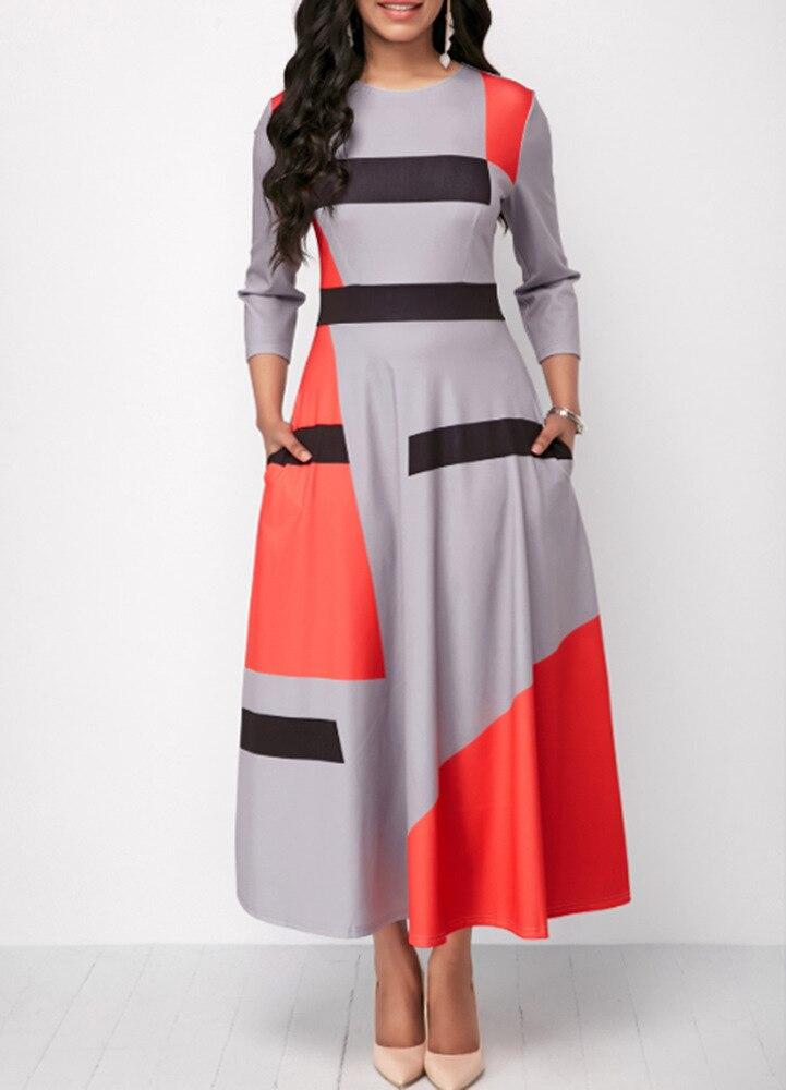 Sakazy 2020 tamaño grande Vintage A-line geométrico bolsillos hasta el tobillo imperio Regular o-cuello vestido Formal de otoño mujeres elegante nuevo