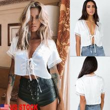 Élégant offre spéciale femmes blanc dentelle soie Satin col en v à lacets lâche manches courtes T-shirt Top dame été confortable vêtements S-XL