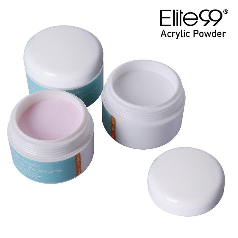Elite99 blanco rosa claro uñas postizas de color arte constructor punta acrílico polvo cristal polímero polvo transparente 1 botella