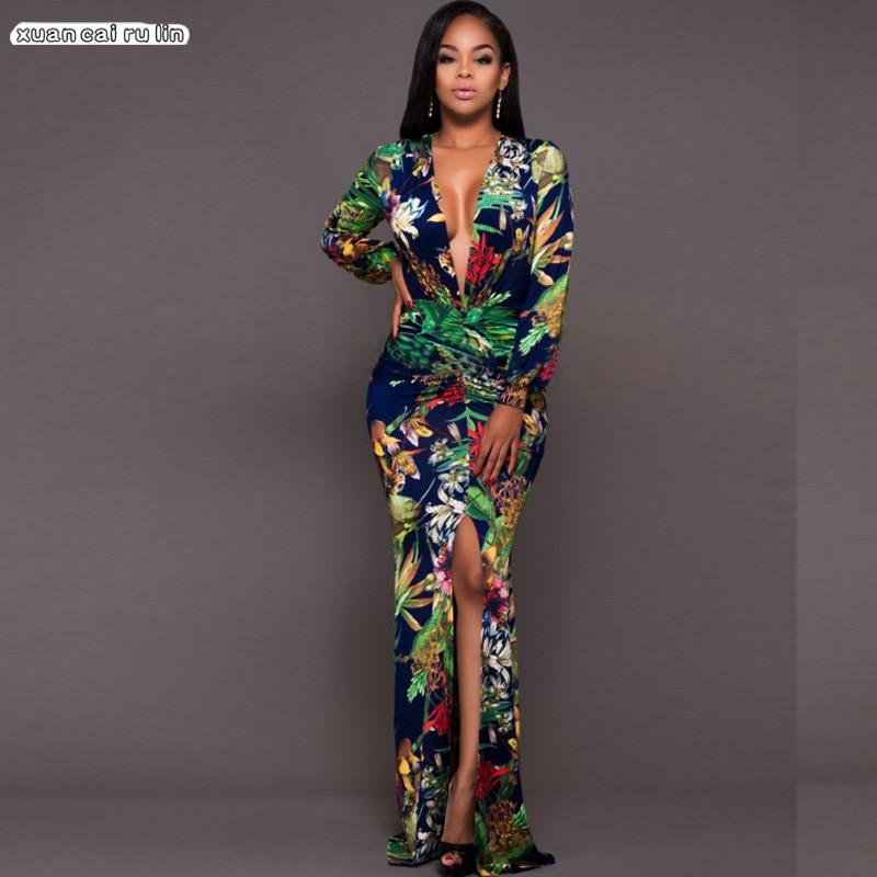 Платье большого размера 3xl, Осеннее, с принтом, раздельная, 2020, высокое качество, с глубоким v-вырезом, длина в пол, с длинным рукавом