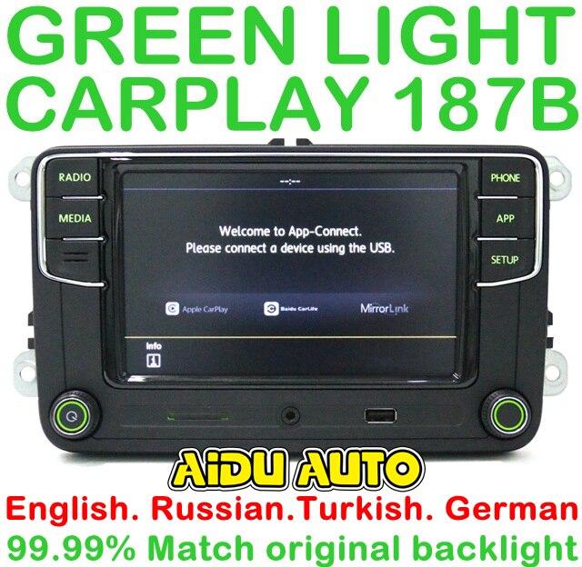 Retroiluminación verde Idioma Alemán ruso turco 187B RCD330 más Radio CarPlay para Skoda Octavia A5 Fabia