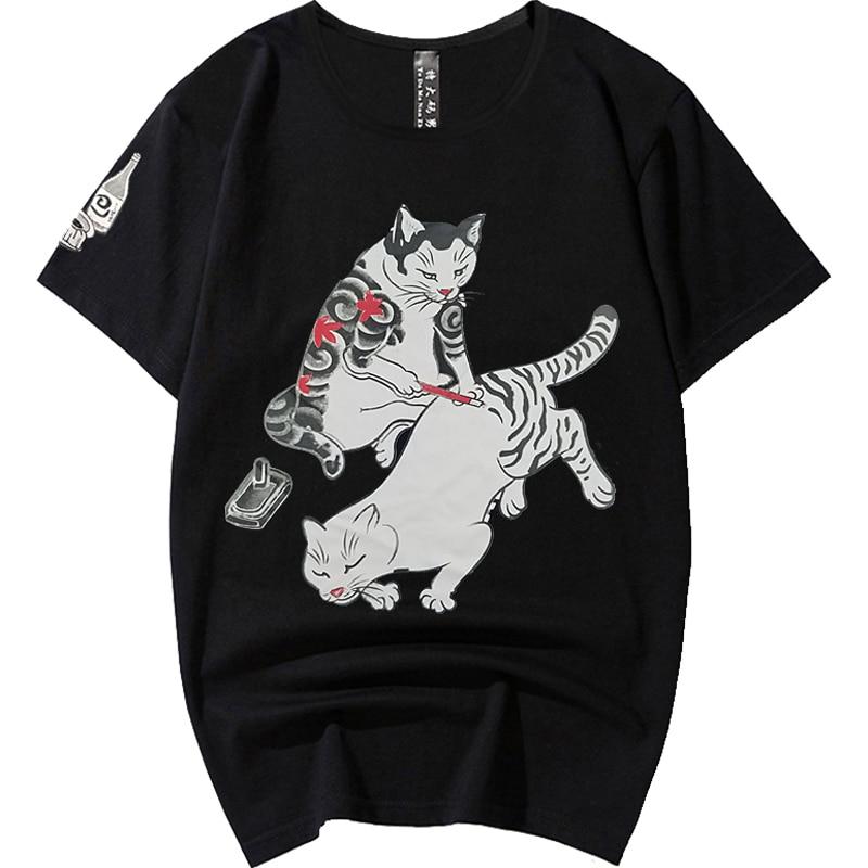 Camiseta de manga corta de algodón de talla grande para hombre de talla grande 8XL 7XL 6XL de verano para hombre, camisetas de hip hop, camisetas Fitness Sauna cat