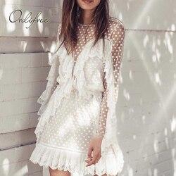 Ordifree 2019 Verão Mulheres Plissado Branco Vestido De Malha de Manga Comprida Sexy Transparente Polka Dot Renda Branca Túnica Vestido de Praia