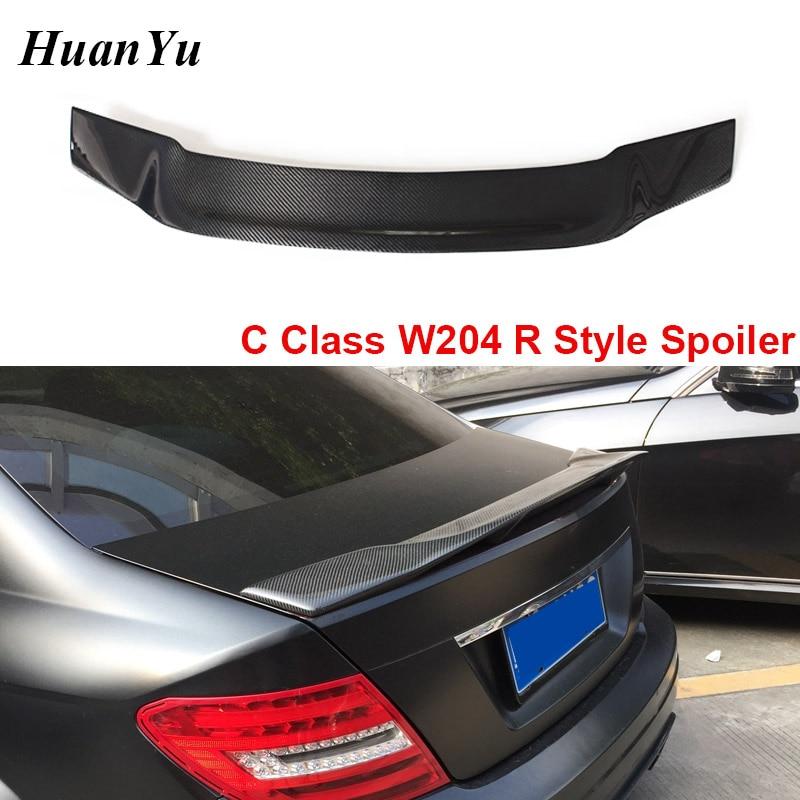 Para Mercedes benz-W204 Estilo R Classe C Fibra De Carbono Tronco Spoiler Ducktail Lip Wings C180 C200 C260 C300 2008-2014 4-door & 2-porta