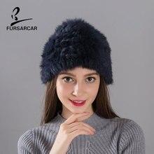 FARSARCA Rabbit Fur Hat Handworks Knitted Fur Hat Cap Womens Winter Light Thin Warm 12 Colors Female Real Rabbit Fur Hats Cap