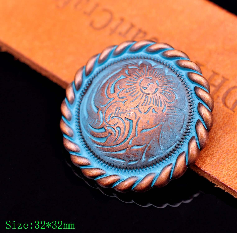 "10X de 1-1/4 ""azul cobre remolque-tono flor grabado cuerda lado cartera cinturón silla CONCHO decoración tornillo"