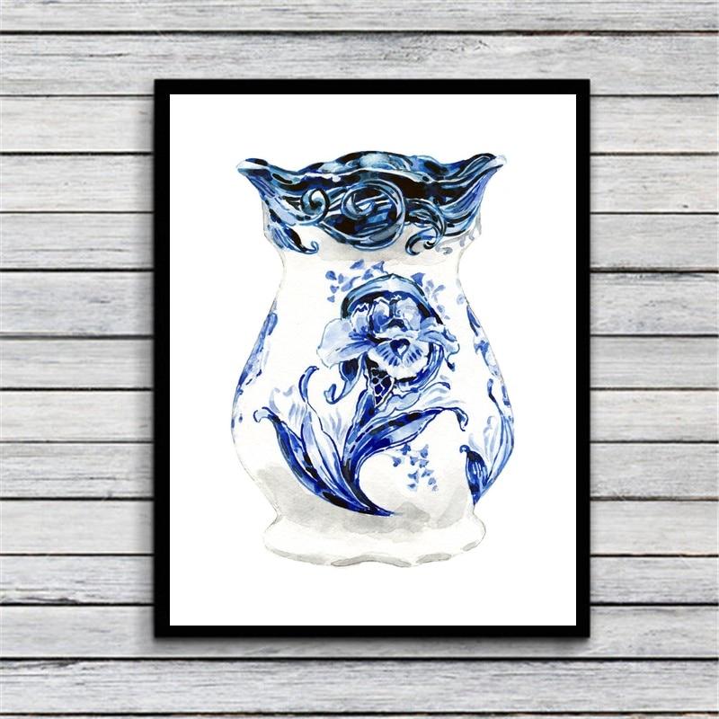 Delft florero azul tulipán arte flor lienzo impreso póster de tela impresiones hogar Decoración de pared pintura