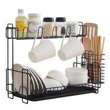 Kitchen racks double layer wrought iron dishes drain shelf spice rack chopsticks spoon storage rack cup holder wx8081734